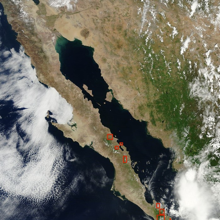 Areas con lluvia. MODIS NASA
