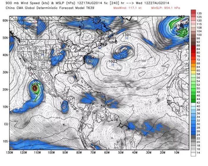 Pronóstico del modelo chino muestra la circulación bien definida del nuevo ciclón tropical para el 27 de agosto, Presión atmosférica y viento en nudos a los 900hPa de altura. WxBell.