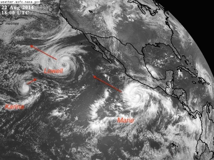 Satélite visible de esta tarde del Océano Pacífico, tormenta tropical Karina, Lowell y Marie. GOES / NASA.