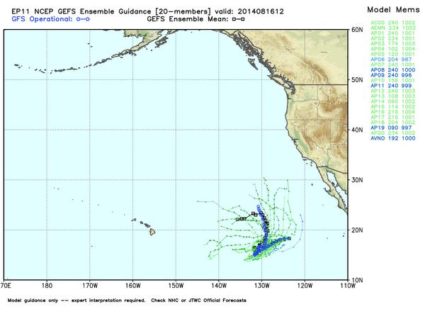 Trayectorias potenciales de la tormenta tropical Karina. WxBell
