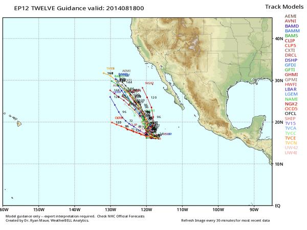 Trayectorias potenciales de la posible tormenta tropical Lowell. WxBell.