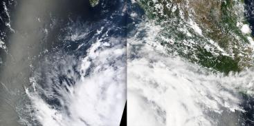 Huracán Maríe de categoría 2 visto por el satélite MODIS de la NASA. 23 de agosto de 2014.