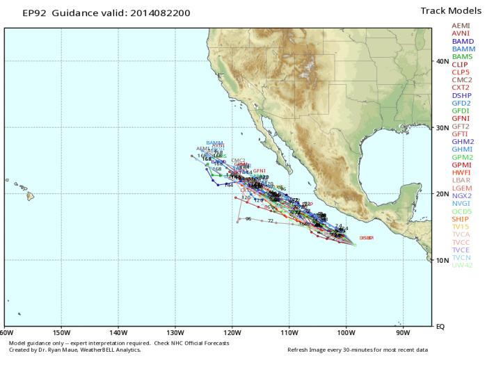 Trayectorias potenciales de la tormenta tropical Marie, WxBell.