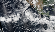 Tormenta tropical Lowell, Karina y Marie.  NASA.  Agosto 2014.