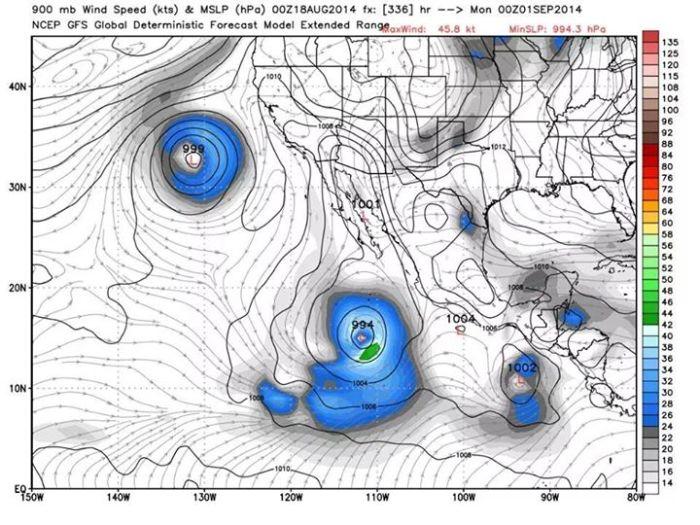 Pronóstico donde están bien definidos el ciclón tropical del 27 de agosto, el del 1 de septiembre y el del 3 de septiembre. WxBell.