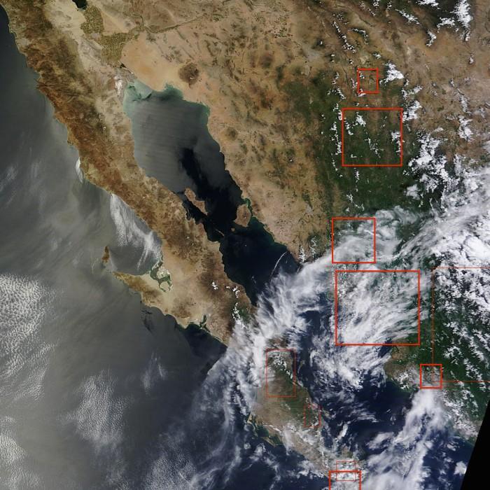 Pronóstico de lluvia y tormentas para esta tarde/noche. Satélite MODIS-NASA.