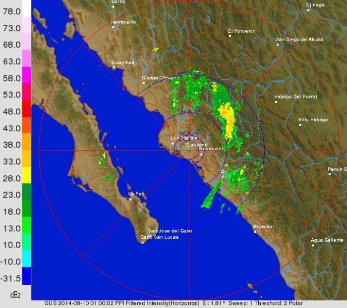 Radar de Guasave detectando ecos de lluvia ligera aún en BCS.