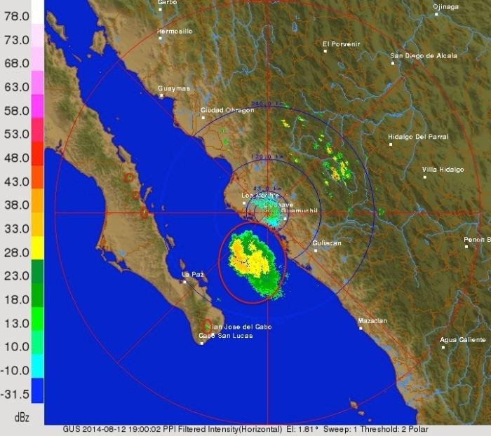 Radar actual de Guasave, Sinaloa. Mostrando zonas con lluvia.
