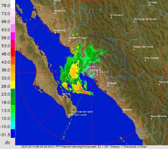 Imagen de radar meteorológico de Guasave- SMN