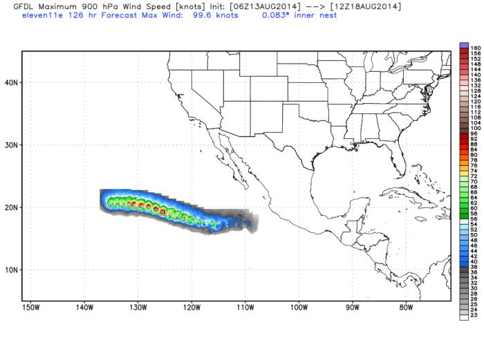 Pronóstico de vientos a largo plazo en nudos, se observa que incluso podrá tener vientos de huracán categoría 2, sin afectar México. WxBell.