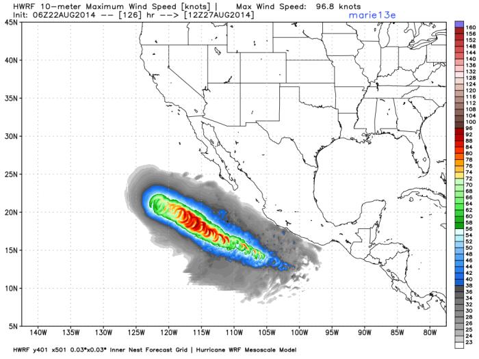 Pronóstico de viento potencial para los próximos días, medido en nudos por hora. Tormenta tropical Marie, WxBell.