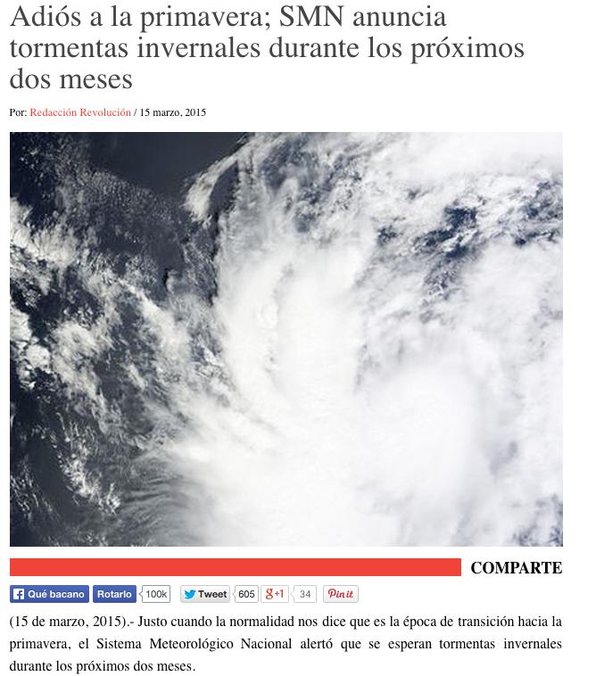 """""""Adiós a la primavera; SMN anuncia tormentas invernales durante los próximos dos meses"""""""