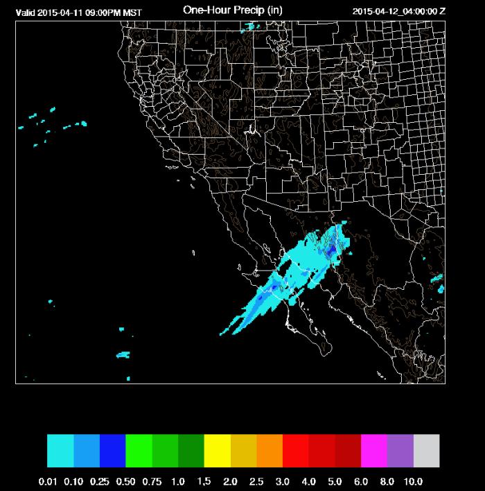 Pronóstico del lluvia este fin de semana, lluvia en pulgadas. Arizona