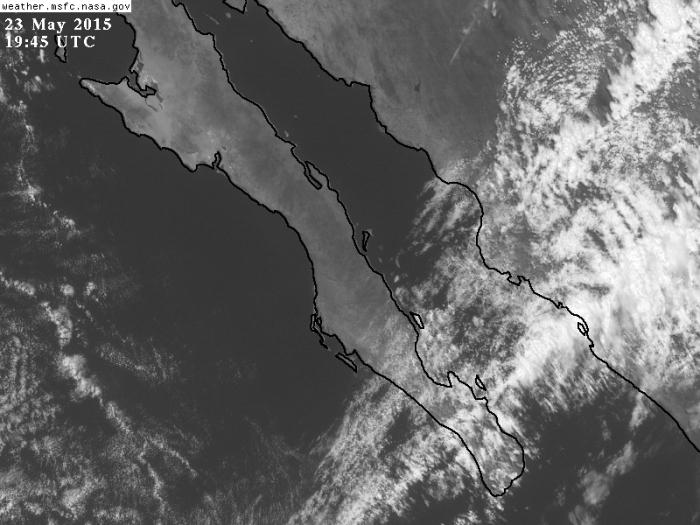 Mapa satelital visible de esta tarde. GOES-NASA.
