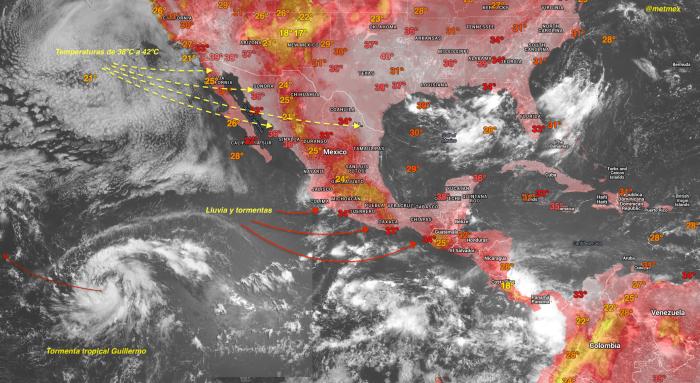 Análisis de superficie, temperaturas y pronóstico de lluvia válido del 30 al 31 de julio de 2015.
